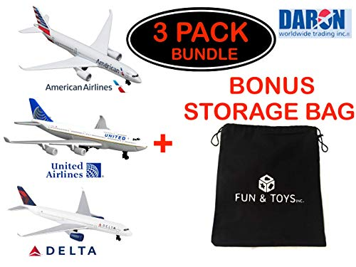 Fun and Toys Inc. Daron American Airlines, United Airlines & Delta Airlines Die-cast Planes with Bonus Storage Bag - Exclusive Gift Set Bundle - 3 Pack