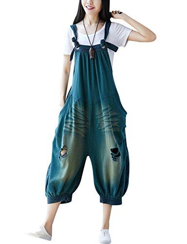 Youlee Damen Sommer Breites Bein Hose Denim Latzhose Overall Hosen Style 20 Green
