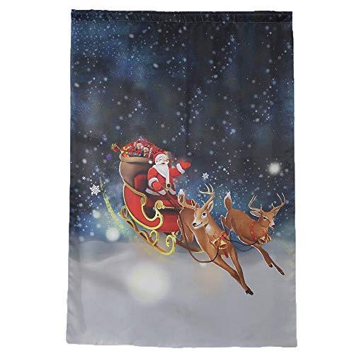 WARMWORD Cortina de Navidad, Vacaciones de Invierno Feliz Papá Noel y Alces Cortina para la decoración de Navidad Tul Tratamiento de la Ventana Voile Cubrir Tejido de Panel Cenefa