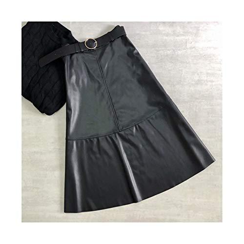 Otoo Invierno De La PU De Cuero De Imitacin Falda Larga con Cinturn De Cintura Alta De La Vendimia Una Lnea De Falda Elegante Mitad De La Pantorrilla Paraguas Falda (Color : Black, Size : M.)