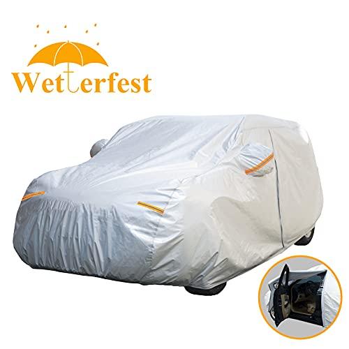 FundaExteriorCocheSUV, Cubierta Coche Universales Impermeable Protector Solar Resistente Nieve con Cremallera, 445 * 183 * 143cm