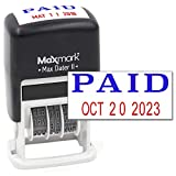 MaxMark Self-Inking Rubber Date Office Stamp with Paid Phrase Blue Ink & Date RED Ink (Max Dater II), 12-Year Band