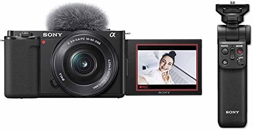 Sony Alpha ZV-E10L | APS-C spiegellose Wechselobjektiv-Vlog-Kamera (schwenkbarer Bildschirm für Vlogging, 4K-Video, Echtzeit-Augen-Autofokus) + GP-VPT2BT Bluetooth Handgriff