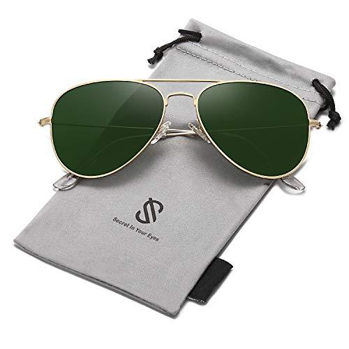 SOJOS Schick Klassische UV Schützen Polarisiert Sonnenbrille Herren SJ1054 mit Gold Rahmen/G15 Linse