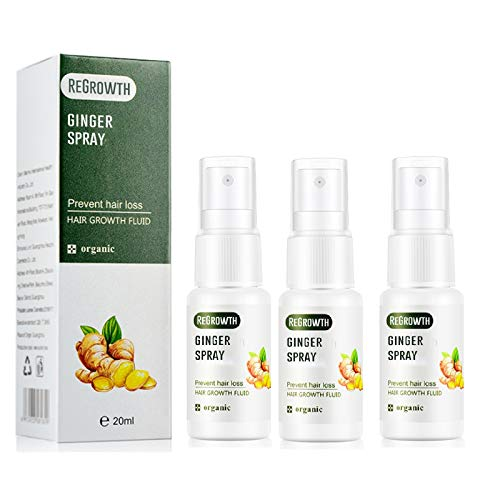 Hair Groth Spray,Regrowth Ginger Spray 20ML pour hommes et femmes de tous types de cheveux - Croissance rapide des cheveux Sérum de gingembre repousse dense (3 PC)