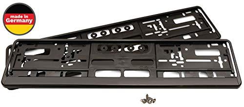 eTopioo® Juego de 2 soportes para matrícula, incluye 4 tornillos, soporte para matrícula de coche de la UE 520 mm x 110 mm, soporte de matrícula de coche negro de calidad