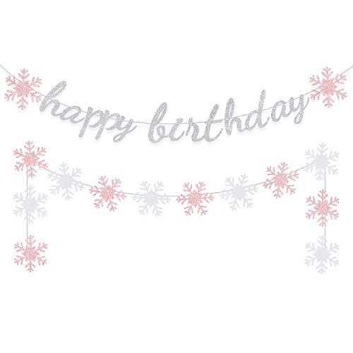Winter Happy Birthday Banner Decoration Girl Party Decoration Glitter Snowflake Garland Pink Silver Wall Hanging Christmas Holiday Supplies