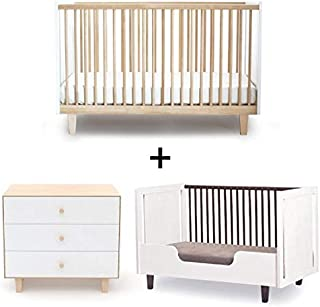 Oeuf Rhea Collection Complete Nursery in Birch with 3 Drawer Dresser