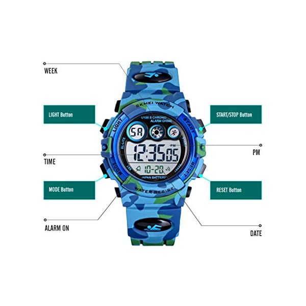 Tephea Kids Sports Watch Boys Military Digital Watch Multi Function Colorful LED Display Waterproof Wristwatches for Children with PU Band