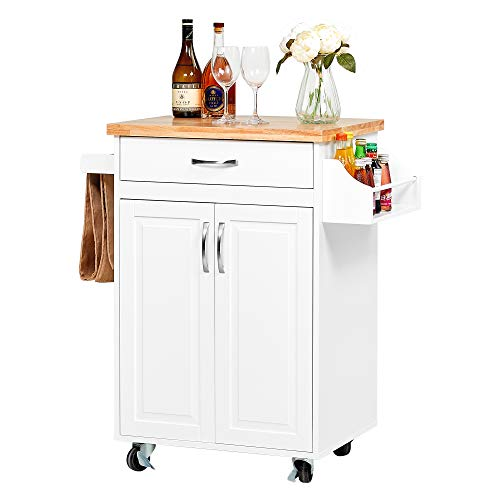 kealive Kitchen Island on Wheels, Rolling Kitchen Cart with Spice Rack Towel Rack, with Large Drawer and Storage Cabinet, Solid Rubber Wood Top, White, 31.5L x 18.9W x35.4H