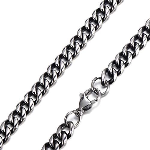 DonDon Collana da Uomo Acciaio Inossidabile Argento-Nero Lunghezza 52 cm - Larghezza 0,6 cm