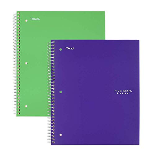 """Five Star Spiral Notebooks, 1 Subject, College Ruled Paper, 100 Sheets, 11"""" x 8-1/2"""", Green, Purple, 2 Pack (38451)"""