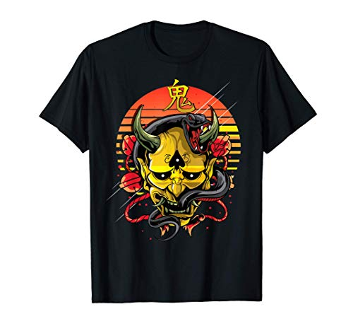Máscara de demonio amarillo japonés Oni Camiseta