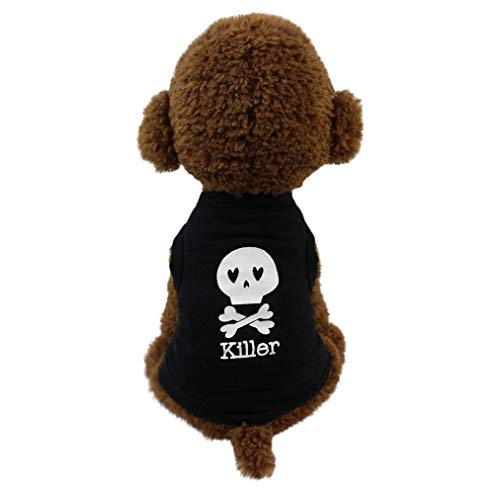 Smniao Sommer Haustier Hund Kleidung Hund Weste Killer Gedruckt Kleiden T-Shirt Kostüme für Kleine Hund Chihuahua Welpen Katze (XS, Schwarz-B)