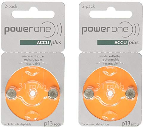 PowerOne ACCU Plus p13 Hearing Aid Rechargeable Battery, 2 Batteries Each