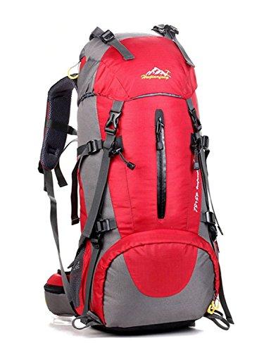 Minetom Sacs De Trekking 50L Adulte Extérieur Randonnée Camping Voyage Anti-Pluie Sports Imperméable Sac À Dos Rouge One Size(30 * 20 * 60 cm)