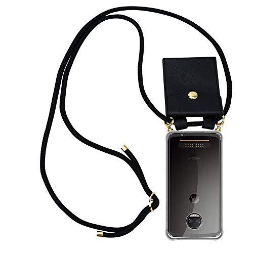 Cadorabo Handy Kette für Motorola Moto Z2 Force in SCHWARZ - Silikon Necklace Umhänge Hülle mit Gold Ringen, Kordel Band Schnur & abnehmbarem Etui – Schutzhülle