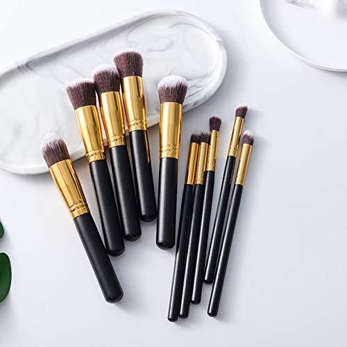 10 Pcs Pinceaux De Maquillage Ensemble Ombre À Paupières Fondation Poudre Blush Brosse En Fibre Douce Visage Beauté Brosse Manche En Bois