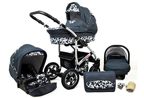 Kinderwagen 3 in 1 Komplettset mit Autositz Isofix Babywanne Babyschale Buggy Larmax by ChillyKids Grey Geometric 4in1 Autositz +Isofix