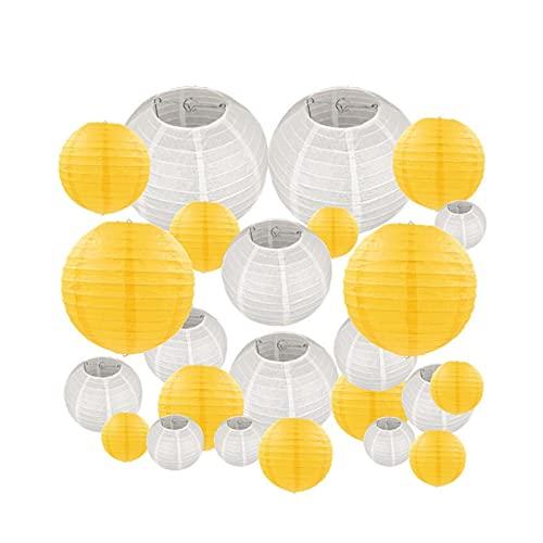 CAIFEIYU 24 PCS/Set 6'-12' Blanco Amarillo Amarillo Lámpara de Papel Chino Linternas Tallas Surtidas Decoración Colgante de Boda