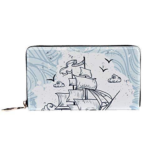 XCNGG Cartera con cremallera alrededor de la mujer y embrague para teléfono, barco dibujado a mano con estampado de olas, bolso de viaje, bolso de mano de cuero, tarjetero, organizador, muñequeras, ca