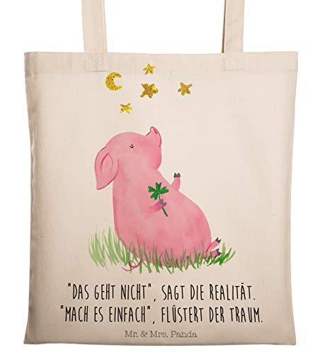 Mr. & Mrs. Panda Jutebeutel, Baumwolltasche, Tragetasche Glücksschwein mit Spruch - Farbe Transparent