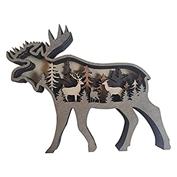 Deer and Mountains Layered Wooden Home Decor,Forest Animal Wide Woods-Wall Art Home Decoration,Best Gift for Special Occasions Such as Housewarming Thanksgiving Weddings Etc  Deer