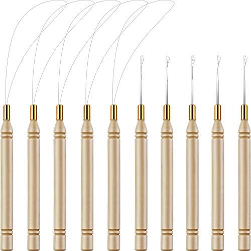 10 unidades de madera para extensiones de pelo o plumas (herramientas y ganchos)
