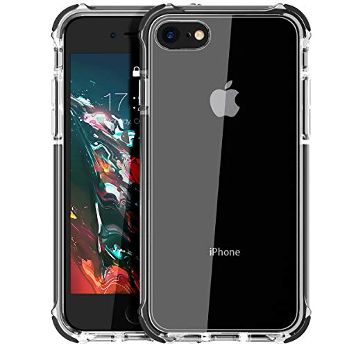 MATEPROX Cover iPhone SE 2020,Cover iPhone 8,Cover iPhone 7,Custodia Protezione Slim Anti Scivolo Anticaduta Anti-shocke Antiurto AntiGraffio Posteriore Trasparent Cover per iPhone 8/7/SE 2020-Nero