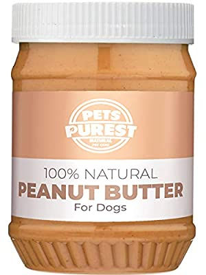 Pets Purest Dog Peanut Butter - 100% Natural Peanut Butter For Dogs & Puppy - Healthy Source of Pure Protein Treat Paste Free From Palm Oil, Wheat & Gluten. No Added Sugar, Salt or Xylitol
