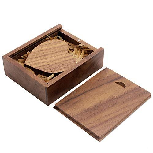 YOOGO Wooden Heart Shape USB Flash Drive USB Memory Stick Thumb Drivers 8GB 2.0 High Speed with Matching Box for Novelty Wedding Gift (8GB, Walnut)