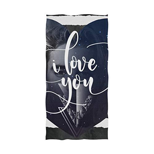 DXG1 Love You Galaxy Toalla de playa con diseño de corazón a rayas para adultos de microfibra, 32 x 64 pulgadas