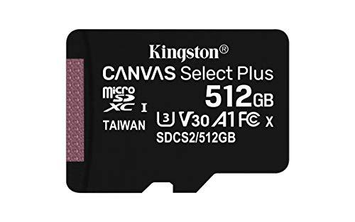 Kingston Canvas Select Plus microSD Speicherkarte, SDCS2/512GB Class 10 (inkl. SD Adapter)