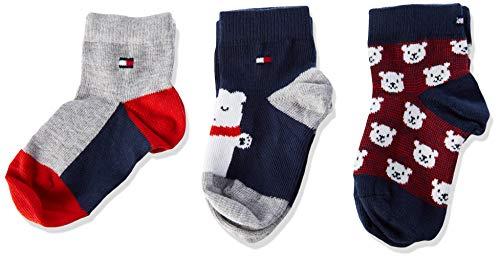 Tommy Hilfiger Th Sock 3p Bear Baby Giftbox calze, Tommy Original, 19/22 (Pacco da 3) Unisex-Bimbi