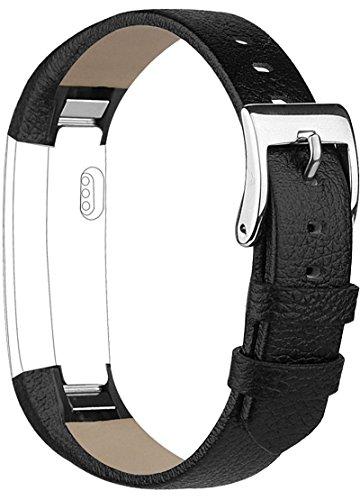 Vancle Lederarmband für Fitbit Alta, Anpassbare Bequemen Fitbit Alta Ersatzarmbänder mit Edelstahl Schnalle (Kein Tracker) (Schwarz)