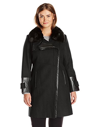 Via Spiga Women's Plus-Size Asymmetrical Zip Front Wool Coat with Faux Fur Collar, Camel, 18W