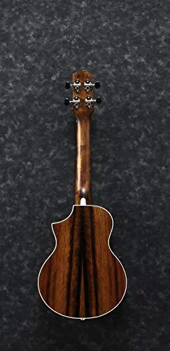 IBANEZ Ukelele electroacústico de concierto Macassar de madera de ébano con cutaway, color marrón oscuro (UEW13MEE-DBO)