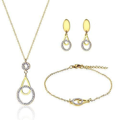 Collar De Agua con Anillo De Titanio De Acero De Tres Piezas Collar De Diamante Pendientes De Pulsera De Oro 18K Set De Damas De Oro