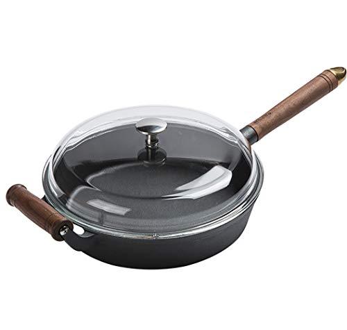 CFJJLM Pan antiaanbakplaat gietijzer, Niet-gecoate pannenkoekenpan, voor het leven pre-season koekenpan, Dubbele bodem koekenpan, Ontbijt gescheiden antiaanbakpan, Zwart, ijzer, 26 cm in diameter