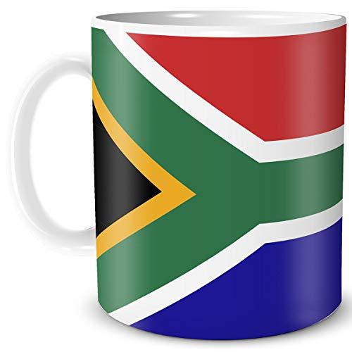 TRIOSK Tasse Flagge Südafrika Länder Flaggen Geschenk Afrika Souvenir South Africa für Reiselustige Frauen Männer Arbeit Büro Weltenbummler