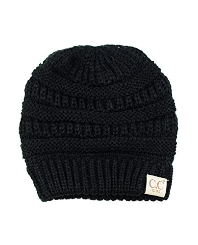 C.C NYFASHION101 Kids Cute Warm and Comfy Children's Knit Ski Beanie Hat, Black