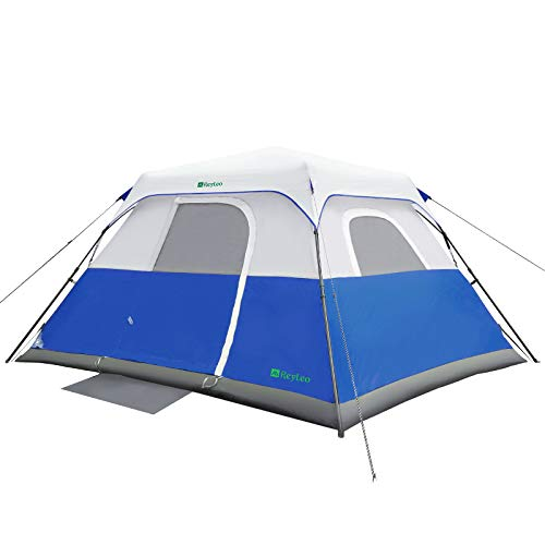 REYLEO Camping Tent, 6 Person Instant Cabin Tent, Easy Setup in 60 Seconds, Weatherproof Family Tent for Camping, Outdoors & Travel, with Ventilated Windows