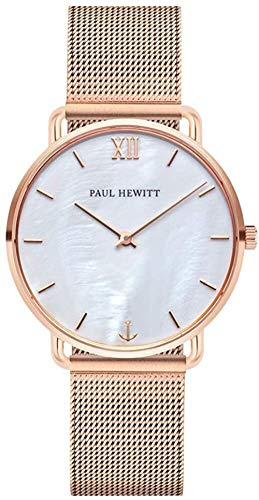 PAUL HEWITT Armbanduhr Damen Miss Ocean Pearl - Damen Uhr (Rosegold), Damenuhr Edelstahlarmband in Rosegold, Ziffernblatt in Perlmutt