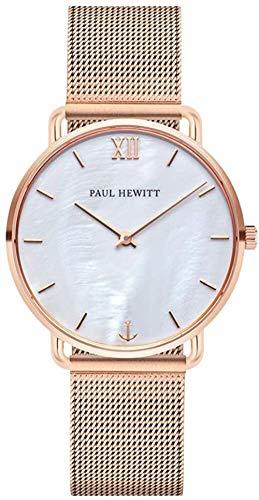 PAUL HEWITT Reloj de muñeca para Mujer en Acero Inoxidable Miss Ocean Pearl - Reloj de Pulsera de Acero Inoxidable en Oro Rosa, Reloj de muñeca para Mujer con Esfera perlada