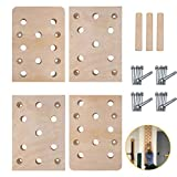 """TRENDBOX Climbing Holds, 4 Pack 12""""x16"""" 30 Holes Climbing Pegboard, Rock Climbing Holds with Durable Climbing Wall Training Ladder, Trainer for Exercise and Fitness Home Gyms"""