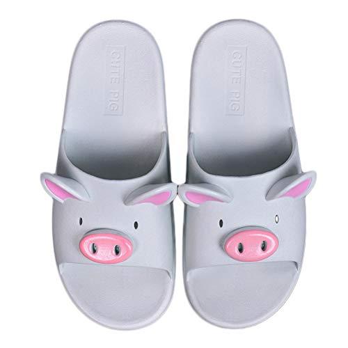 BIUU Paar Hausschuhe Sommer Cartoon Schwein Pantoffeln Damen PVC Sandalen Und Hausschuhe Geeignet Für Badezimmer, Gärten, Strände,Blue,40/41