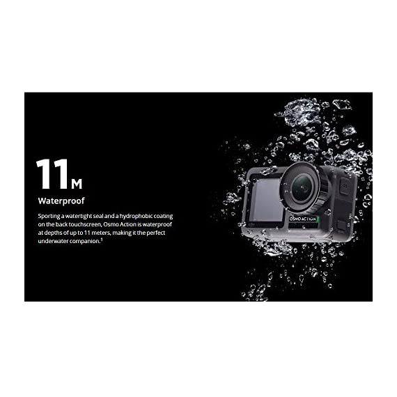 "Dji osmo action - 4k action cam 12mp digital camera with 2 displays 36ft underwater waterproof wifi hdr video 145° angle… 6 dual screens: osmo action's dual screens allow you to capture it all with the touch of a button. A vivid front screen lets you frame yourself effortlessly in any setting, while the back screen delivers a crystal-clear, hyper-responsive display. This durable, versatile action camera is jam-packed with advanced technology that lets you spend less time worrying about equipment and more time living the action. The rocksteady technology combines eis with complex algorithms, delivering stable, shake-free footage no matter how heavy the action gets. Action camera with 1/2. 3"" cmos sensor, 12mp, wide-angle 145° that allows you to shoot 4k hdr videos."