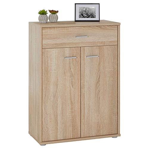 CARO-Möbel Kommode Sideboard Schrank Tommy in Sonoma Eiche, Anrichte Highboard mit Schublade und 2 Türen
