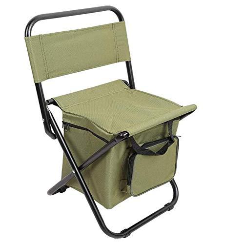 Outdoor rugzak klapstoel, draagbare stoel, koeltas ontlasting te vissen, multifunctionele geïsoleerde klapstoel, geïsoleerde ijs zak kruk,(green)