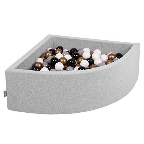 KiddyMoon 90X30cm/200 Balles Piscine À Balles ∅ 7Cm pour Bébé Quart Angulaire Fabriqué en UE, Gris Clair:Blanc/Gris/Noir/Or
